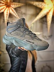 Мужские кроссовки зимние Adidas Yeezy 500 (мех) (серые)