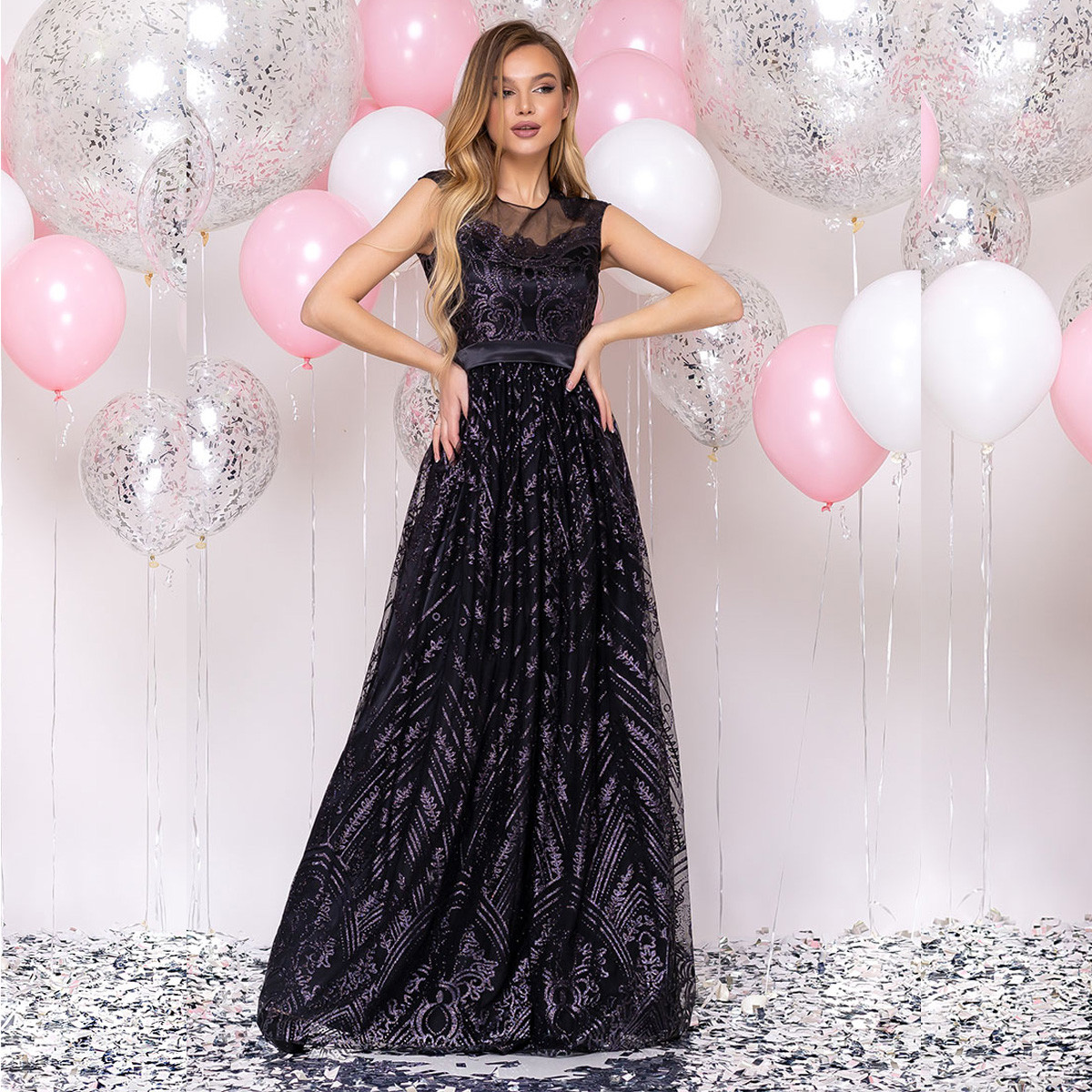 """Элегантное длинное атласное платье черное блестящее размер S """"Винтаж"""""""