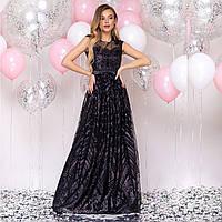 """Элегантное длинное атласное платье черное блестящее размер S """"Винтаж"""", фото 1"""