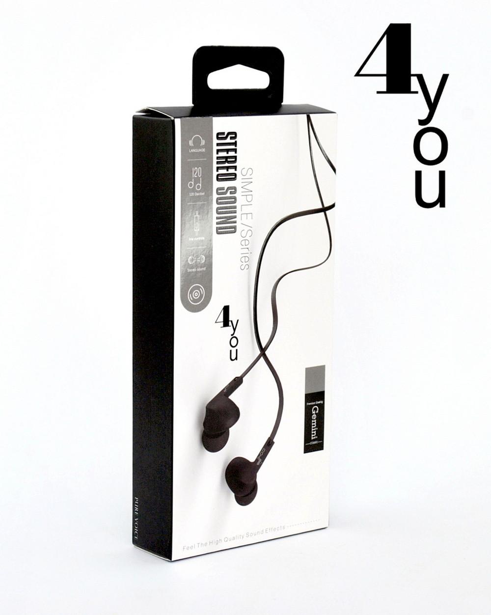 Гарнитура 4you GEMINI (плоский шнур, sport) black