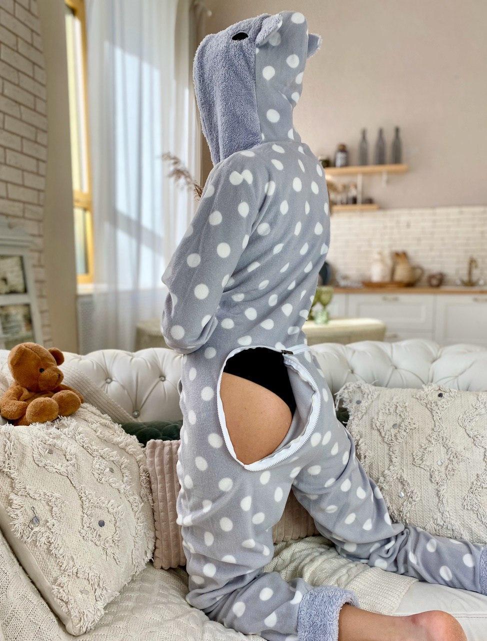 Пижама комбинезон кигуруми горох серый