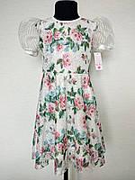 Красивое детское платье на девочек на 4, 8 и 14 лет, белое, с воланами