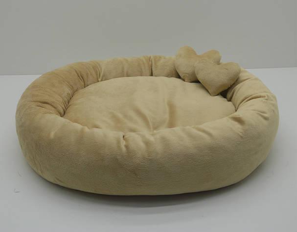 Лежак для собак и котов Плюш бежевый, фото 2