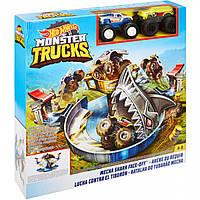 Набор Хот Вилс Опасное противостояние акуле Hot Wheels Monster trucks FYK14 оригинал