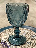 Бокалы фужеры для вина из цветного стекла Лазурно-синий ( 6 предметов )