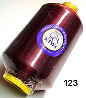 Нитка для оверлока Бордо 150D 123тон текстурированная Kiwi 20000м