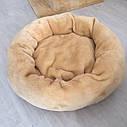 Лежак для кошки, собаки. Круглая пушистая лежанка. Теплая, глубокая, меховая. Серая, бежевая. 45 см, фото 4