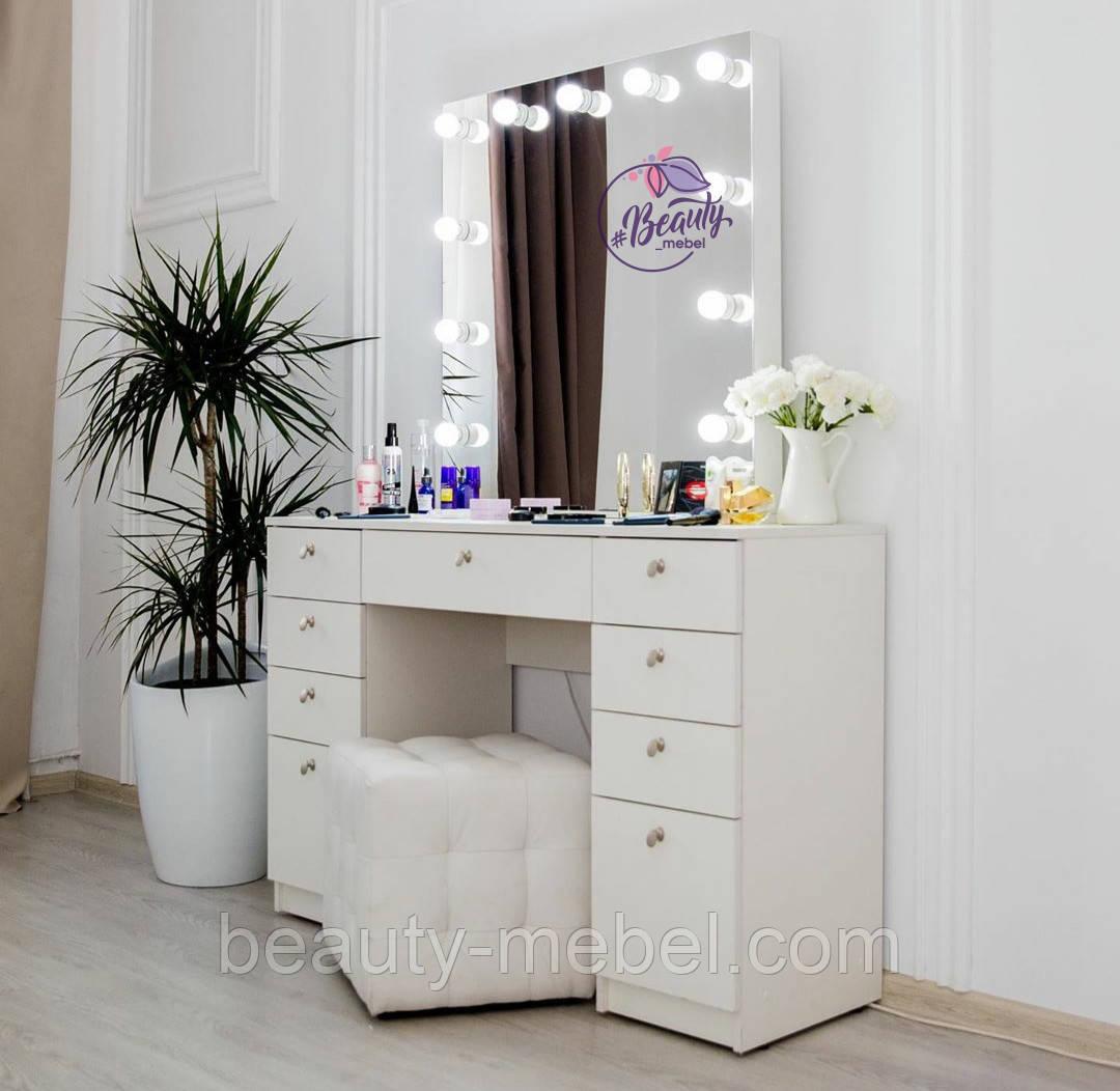 Стол для макияжа с гримерным зеркалом на надставке, стол визажиста с ящиками, цвет - белый