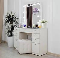 Стол для макияжас гримерным зеркалом на надставке, стол визажиста с ящиками, цвет - белый