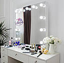 Стол для макияжа с гримерным зеркалом на надставке, стол визажиста с ящиками, цвет - белый, фото 4