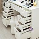 Стол для макияжа с гримерным зеркалом на надставке, стол визажиста с ящиками, цвет - белый, фото 5
