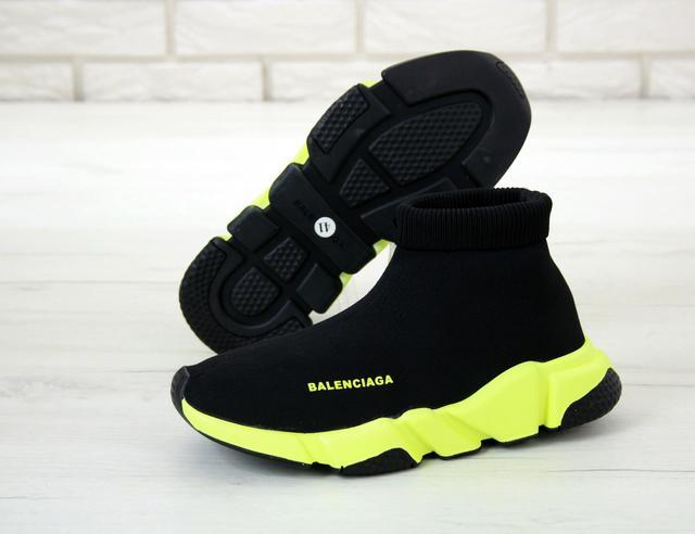Кроссовки Balenciaga Speed Trainer черно-желтого цвета фото