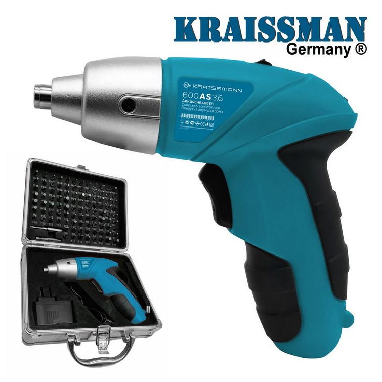 Отвертка аккумуляторная KRAISSMANN 600 AS 3,6 (набор бит 100 ед.)