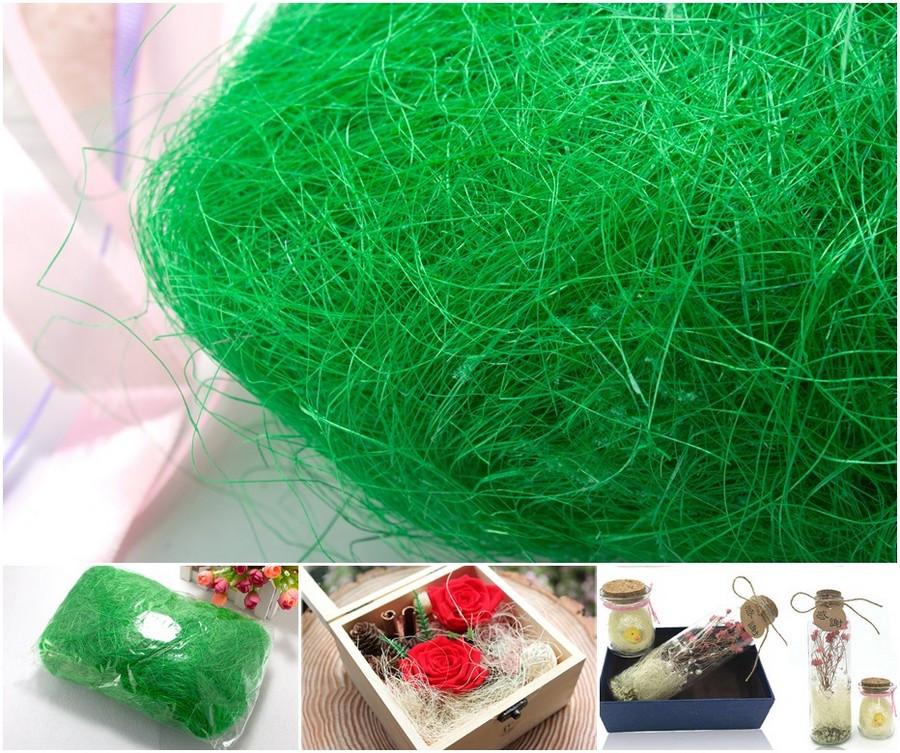 Сизаль натуральная (волокна сизаля)100грамм Цвет - Салатовый