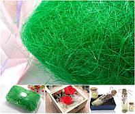 Сизаль натуральная (волокна сизаля)100грамм Цвет - Салатовый, фото 1
