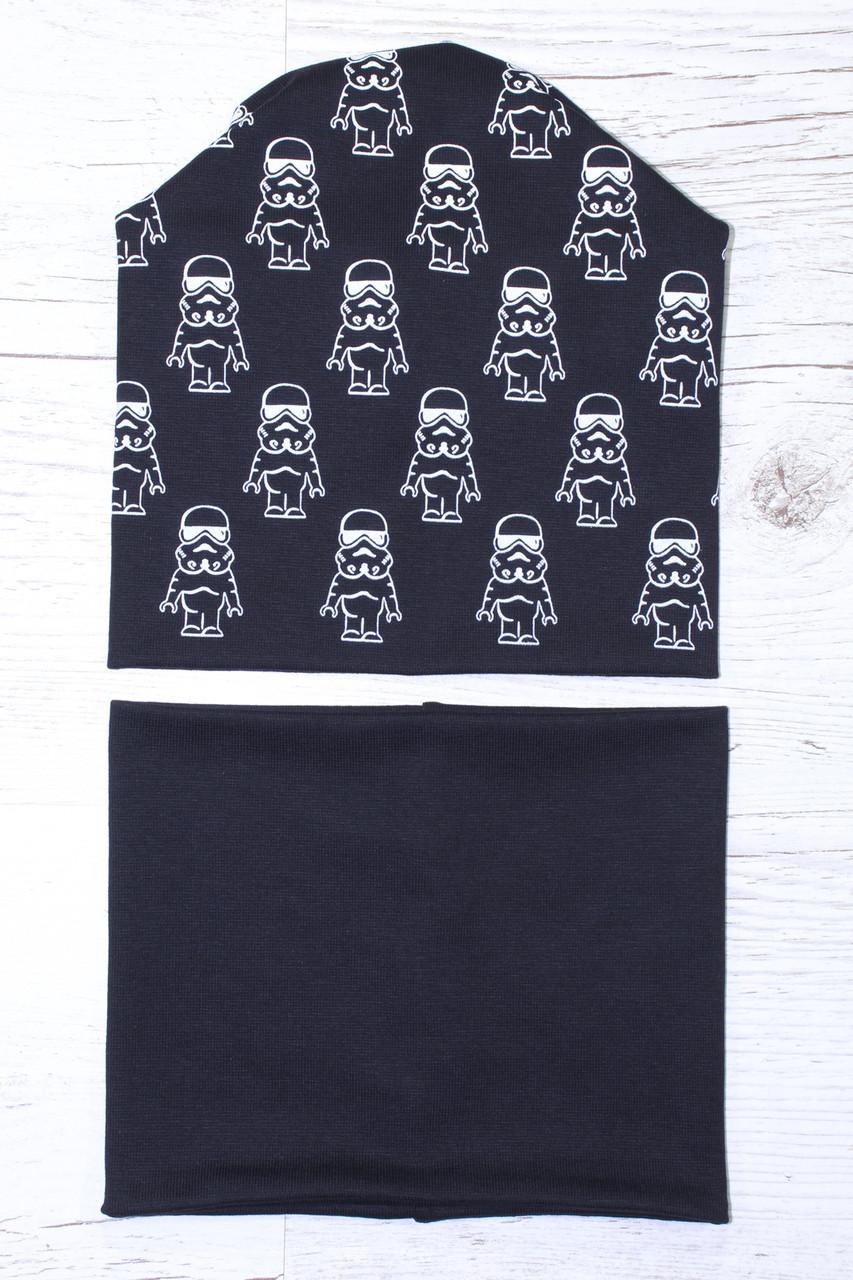 Демисезонная двойная Star Wars Удлиненная с защипом шапка и снуд черный 52-56р.