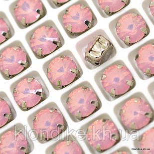 Стразы пришивные в цапах, Стекло, Круглые, 8 мм, Цвет: Розовый смола (6 шт.)