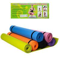 Гимнастический коврик M 0380-2 коврик для йоги и фитнеса 173-61 см толщина 5 мм