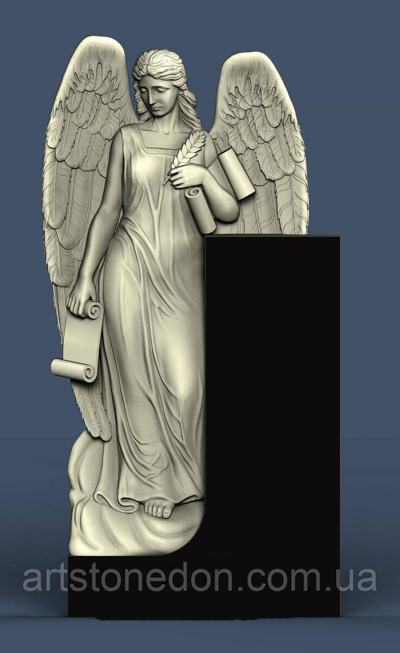 Памятник гранитный резной с ангелом №1005