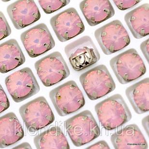 Стразы пришивные в цапах, Стекло, Круглые, 10 мм, Цвет: Розовый смола (6 шт.)