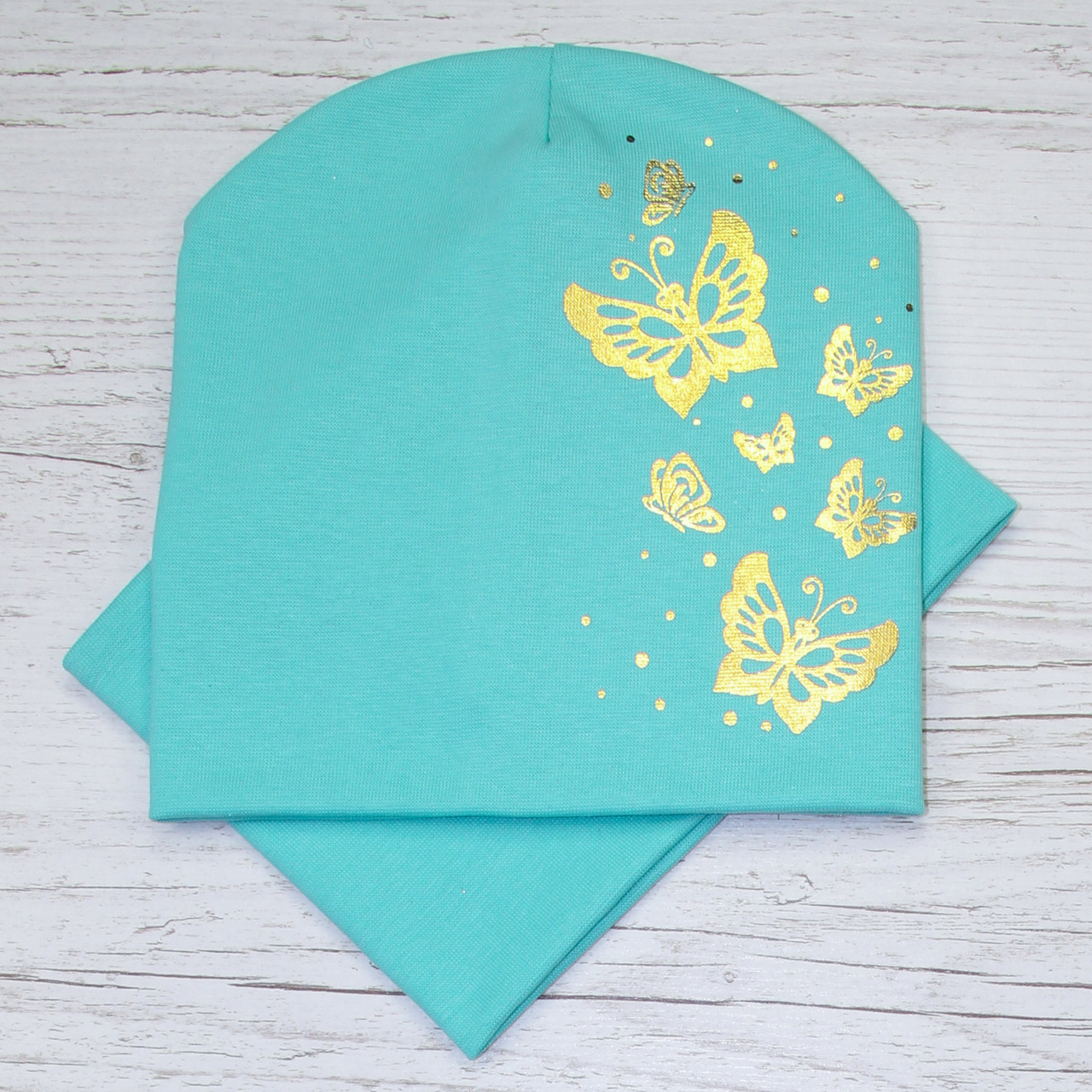 Трикотажная бабочки золото Комплект шапка + баф мята 48-52р.