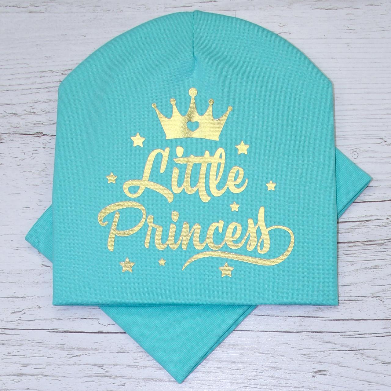 Молодежная Princess золото Комплект шапка + баф мята 48-52р.