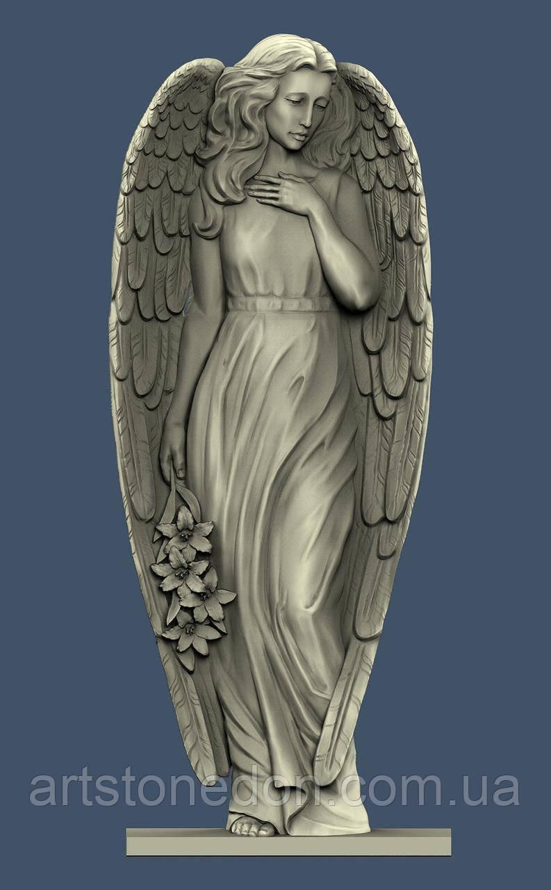 Пам'ятник гранітний різьблений Ангел у весь зріст №1010