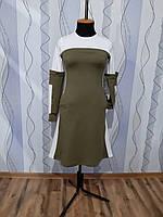 Трикотажна бавовняна жіноча двокольорова сукня з кишенями Женское хлопковое трикотажное платье с карманами