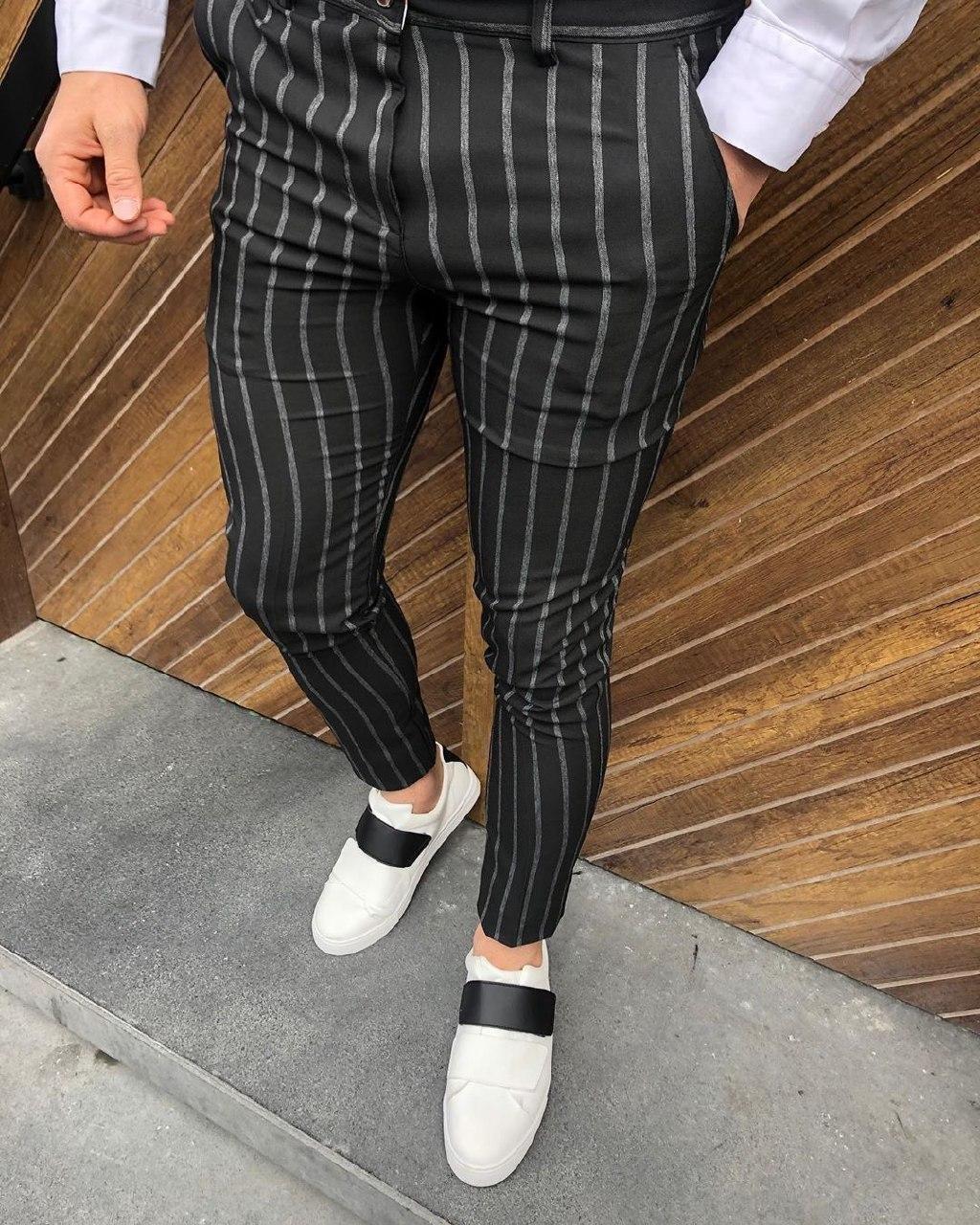 Мужские брюки черные в полоску D31