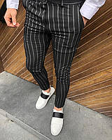Мужские брюки черные в полоску D31, фото 1