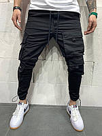 Мужские свободные черные джинсы с карманами, фото 1