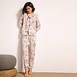 Пижама женская на пуговицах с цветочным принтом. Комплект для дома, сна с длинным рукавом, р. S, фото 3