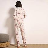 Пижама женская на пуговицах с цветочным принтом. Комплект для дома, сна с длинным рукавом, р. S, фото 4
