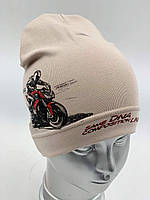 "ОПТ, Трикотажна шапочка дитяча для хлопчика, ковпак ""Мотоцикл"", фото 1"
