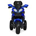Дитячий електромобіль Мотоцикл M 4188 AL-4, гумові колеса, шкіряне сидіння, синій, фото 2