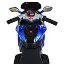Дитячий електромобіль Мотоцикл M 4188 AL-4, гумові колеса, шкіряне сидіння, синій, фото 3