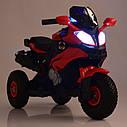 Дитячий електромобіль Мотоцикл M 4188 AL-4, гумові колеса, шкіряне сидіння, синій, фото 6