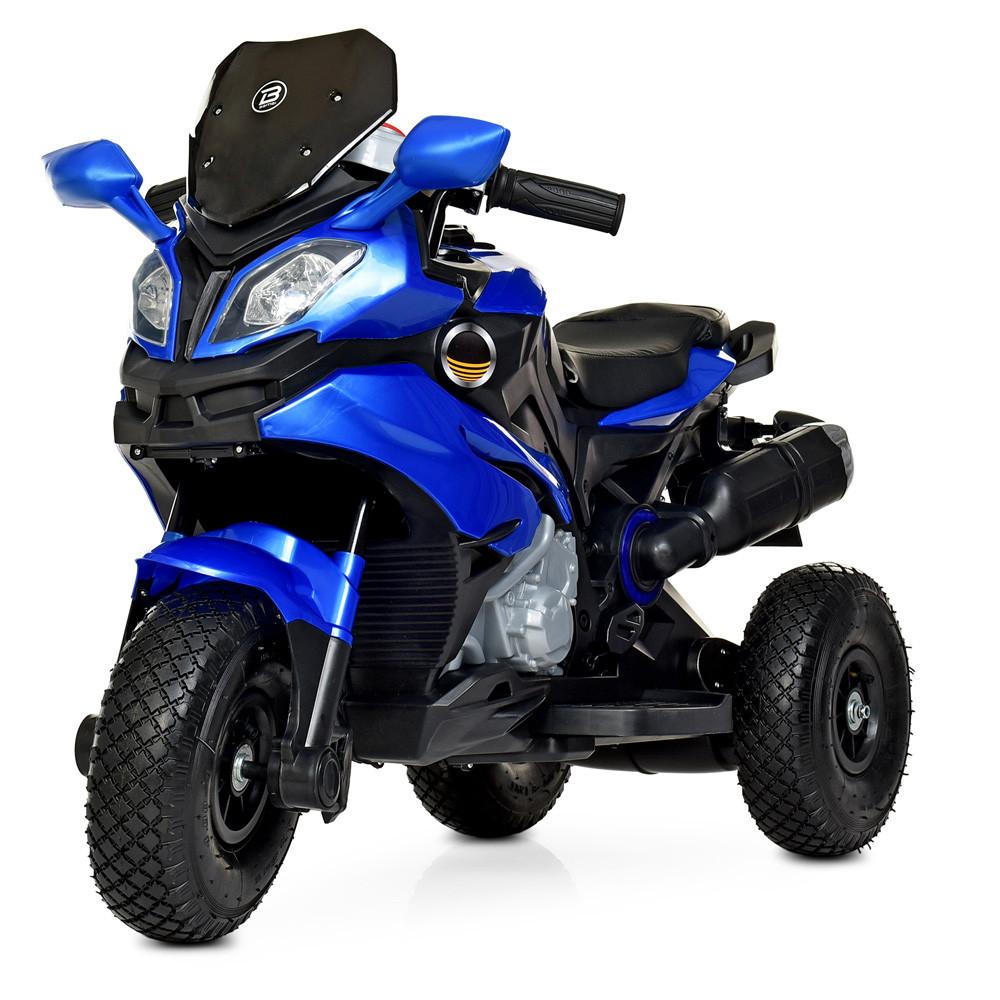 Дитячий електромобіль Мотоцикл M 4188 AL-4, гумові колеса, шкіряне сидіння, синій