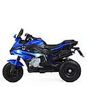 Дитячий електромобіль Мотоцикл M 4188 AL-4, гумові колеса, шкіряне сидіння, синій, фото 4