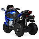 Дитячий електромобіль Мотоцикл M 4188 AL-4, гумові колеса, шкіряне сидіння, синій, фото 5
