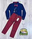Нарядный и стильный костюм для мальчика 4 года: темно-синяя рубашка Gucci и бордовые брюки Polo, фото 2
