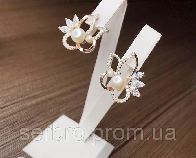 Серебряные сережки с золотом и  жемчугом Жасмин
