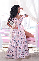 Длинное летнее светлое платье на бретелях на запах (S/M, M/L, L/XL)