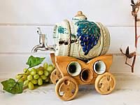 Набор под спиртное керамический Бочонок и 6 рюмок на деревянной телеге, фото 1