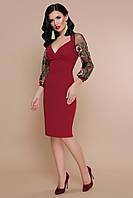 Нарядное женское платье миди с вышивкой на рукавах