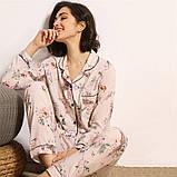 Пижама женская на пуговицах с цветочным принтом. Комплект для дома, сна с длинным рукавом, р. M, фото 2