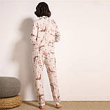 Пижама женская на пуговицах с цветочным принтом. Комплект для дома, сна с длинным рукавом, р. M, фото 4