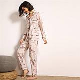Пижама женская на пуговицах с цветочным принтом. Комплект для дома, сна с длинным рукавом, р. M, фото 5
