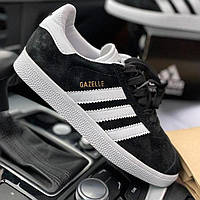 Женские и мужские кроссовки Adidas Gazelle Black/White