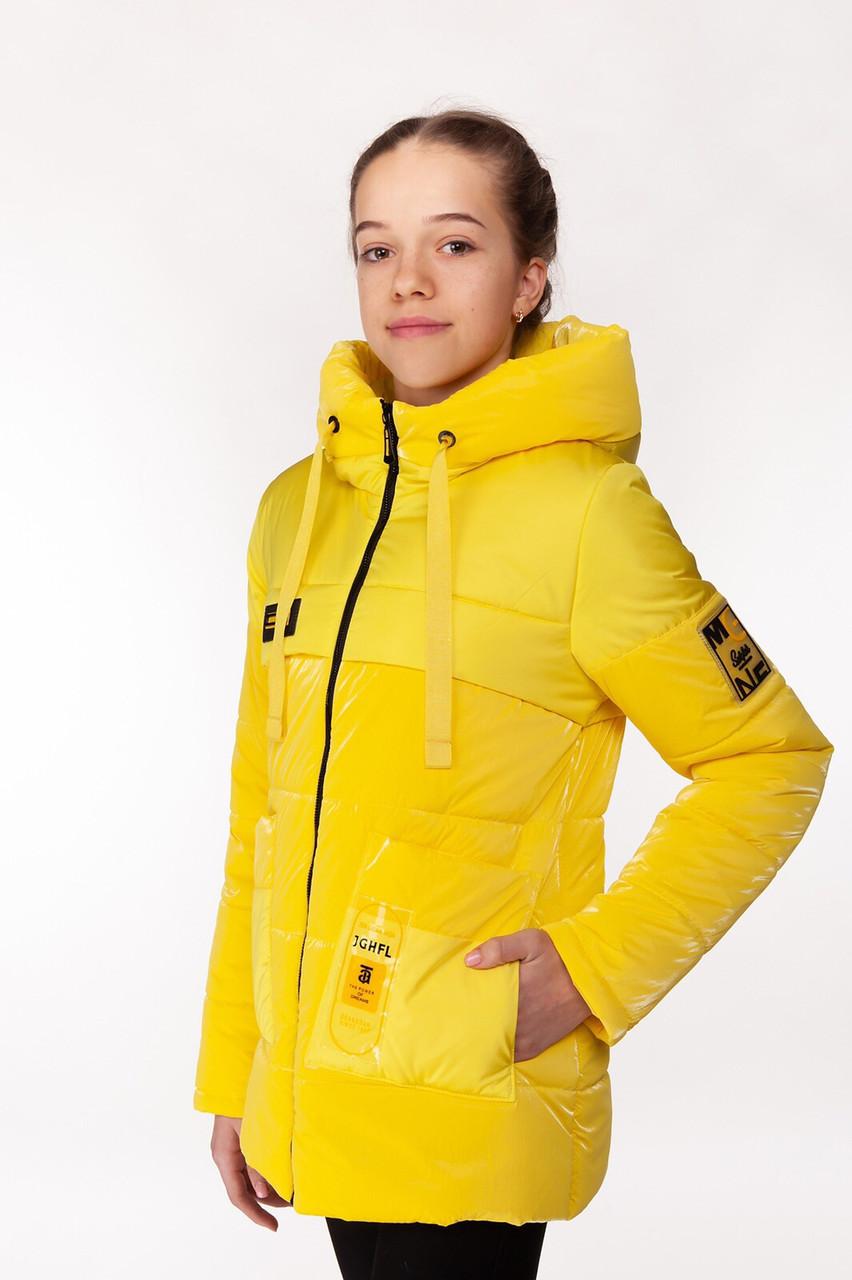 Удлиненная весенняя куртка с яркой подкладкой для девочки 34-44 р